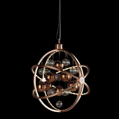 LED Copper plate with clear & copper balls Pendant Light BXMUNI-CO-17 by Endon (Double Insulated)